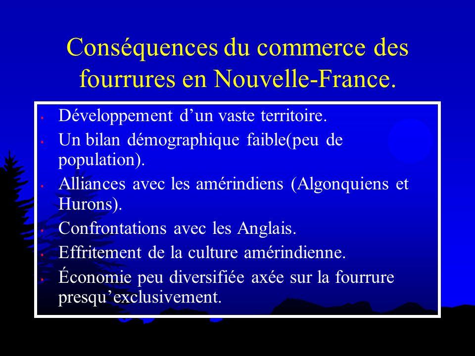Conséquences du commerce des fourrures en Nouvelle-France. Développement dun vaste territoire. Un bilan démographique faible(peu de population). Allia