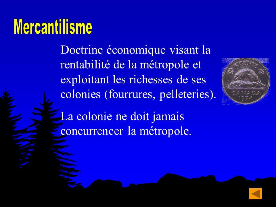 Doctrine économique visant la rentabilité de la métropole et exploitant les richesses de ses colonies (fourrures, pelleteries). La colonie ne doit jam