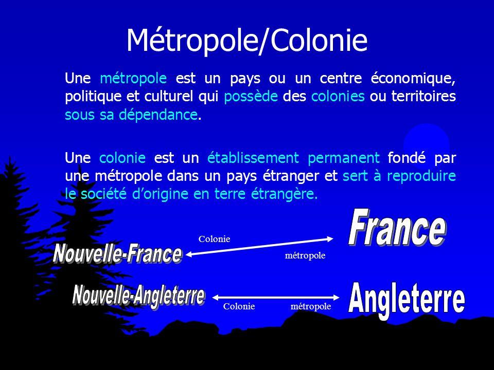 Métropole/Colonie Une métropole est un pays ou un centre économique, politique et culturel qui possède des colonies ou territoires sous sa dépendance.