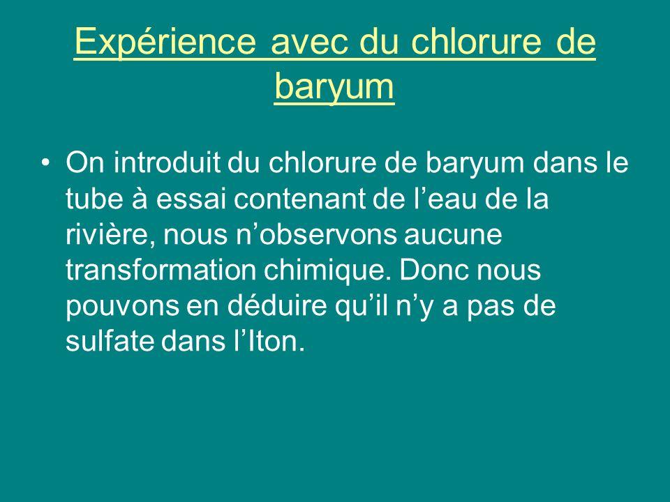 Expérience avec du chlorure de baryum On introduit du chlorure de baryum dans le tube à essai contenant de leau de la rivière, nous nobservons aucune transformation chimique.