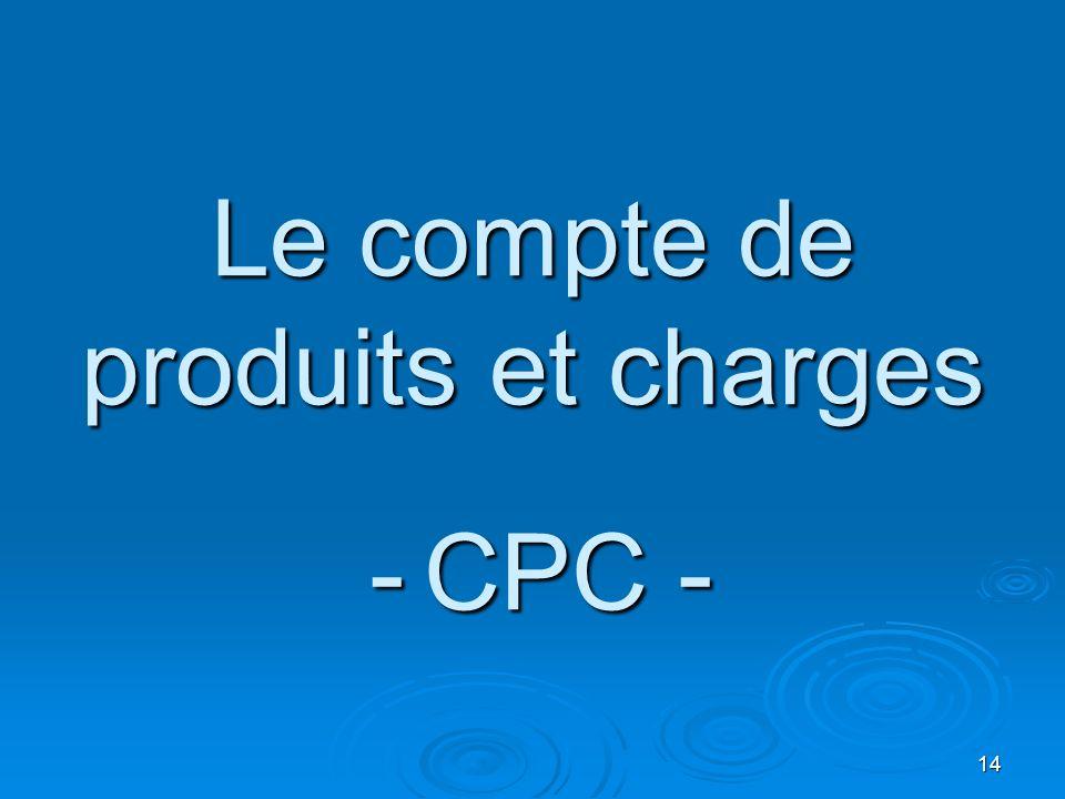 14 Le compte de produits et charges - CPC -