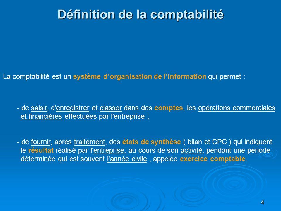 4 Définition de la comptabilité La comptabilité est un système dorganisation de linformation qui permet : - de saisir, denregistrer et classer dans de