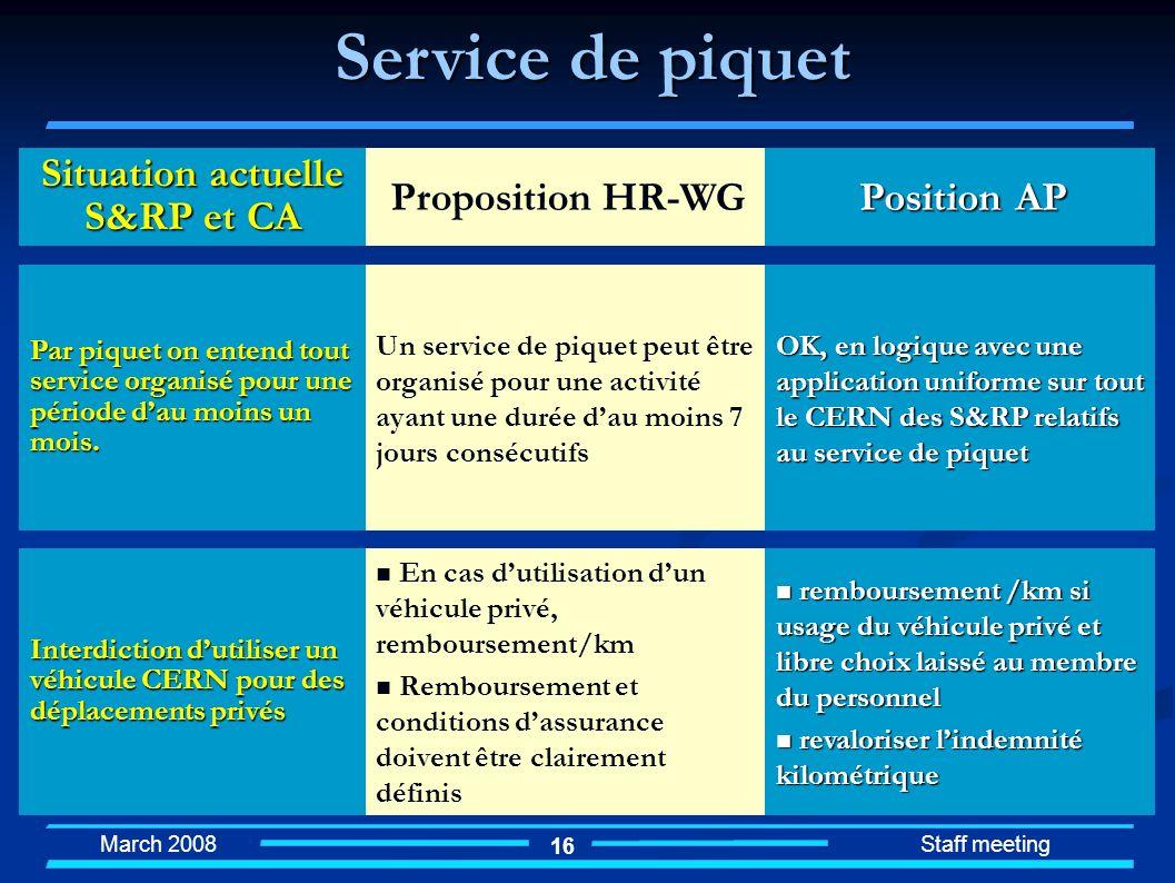 March 2008 Staff meeting 16 En cas dutilisation dun véhicule privé, remboursement/km Remboursement et conditions dassurance doivent être clairement dé