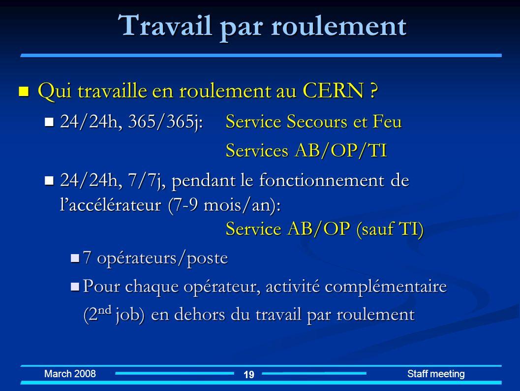 March 2008 Staff meeting 19 Qui travaille en roulement au CERN ? Qui travaille en roulement au CERN ? 24/24h, 365/365j: Service Secours et Feu 24/24h,