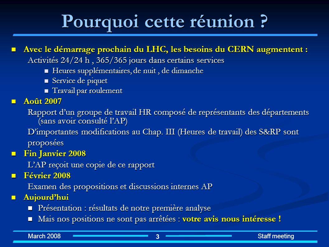 March 2008 Staff meeting 3 Pourquoi cette réunion ? Avec le démarrage prochain du LHC, les besoins du CERN augmentent : Avec le démarrage prochain du