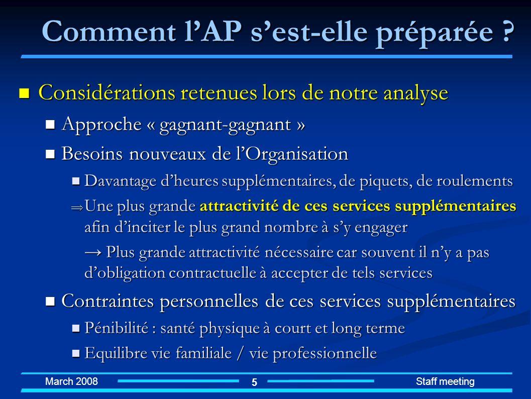 March 2008 Staff meeting 5 Considérations retenues lors de notre analyse Considérations retenues lors de notre analyse Approche « gagnant-gagnant » Ap