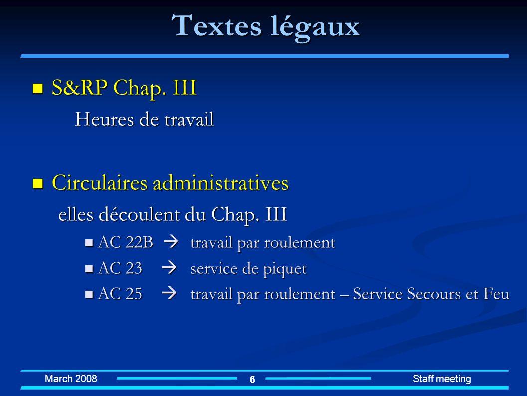 March 2008 Staff meeting 17 Volontaires sur appel Faut-il réglementer la pratique « best effort » .