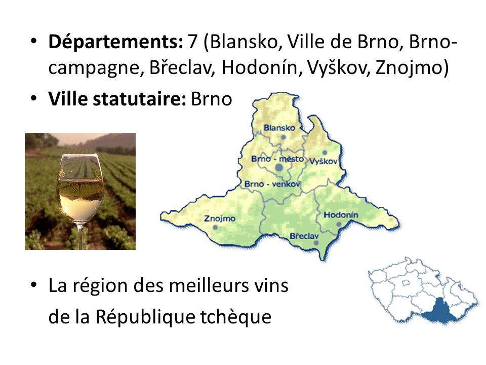 Départements: 7 (Blansko, Ville de Brno, Brno- campagne, Břeclav, Hodonín, Vyškov, Znojmo) Ville statutaire: Brno La région des meilleurs vins de la R