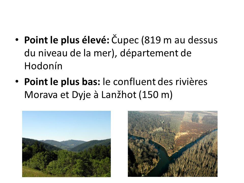 Point le plus élevé: Čupec (819 m au dessus du niveau de la mer), département de Hodonín Point le plus bas: le confluent des rivières Morava et Dyje à