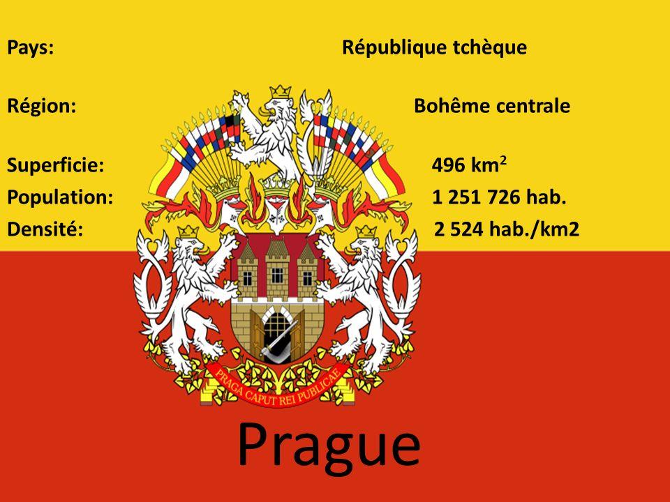 Prague Pays: République tchèque Région: Bohême centrale Superficie: 496 km 2 Population: 1 251 726 hab. Densité: 2 524 hab./km2