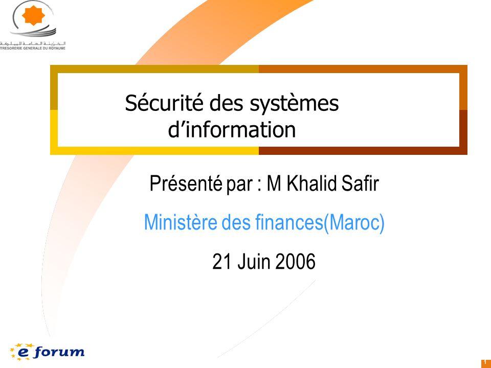 1 Sécurité des systèmes dinformation Présenté par : M Khalid Safir Ministère des finances(Maroc) 21 Juin 2006