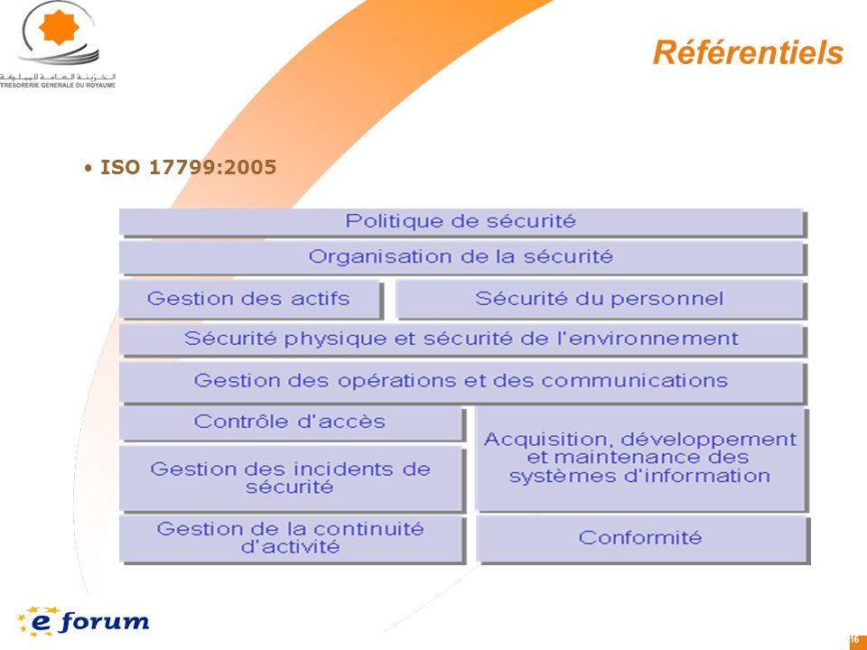 16 Référentiels ISO 17799:2005