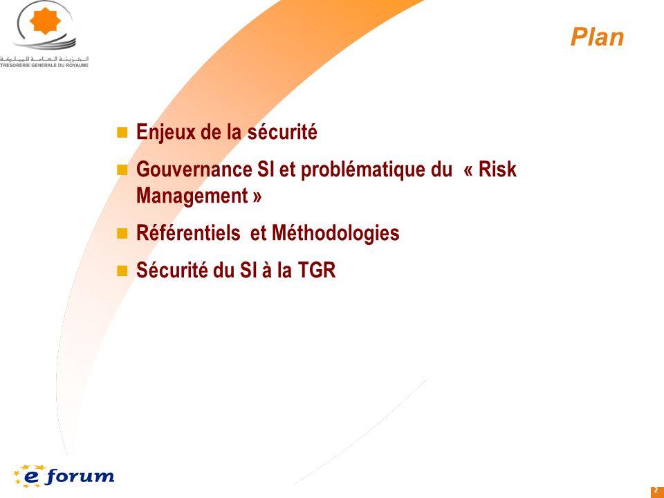 2 Plan Enjeux de la sécurité Gouvernance SI et problématique du « Risk Management » Référentiels et Méthodologies Sécurité du SI à la TGR