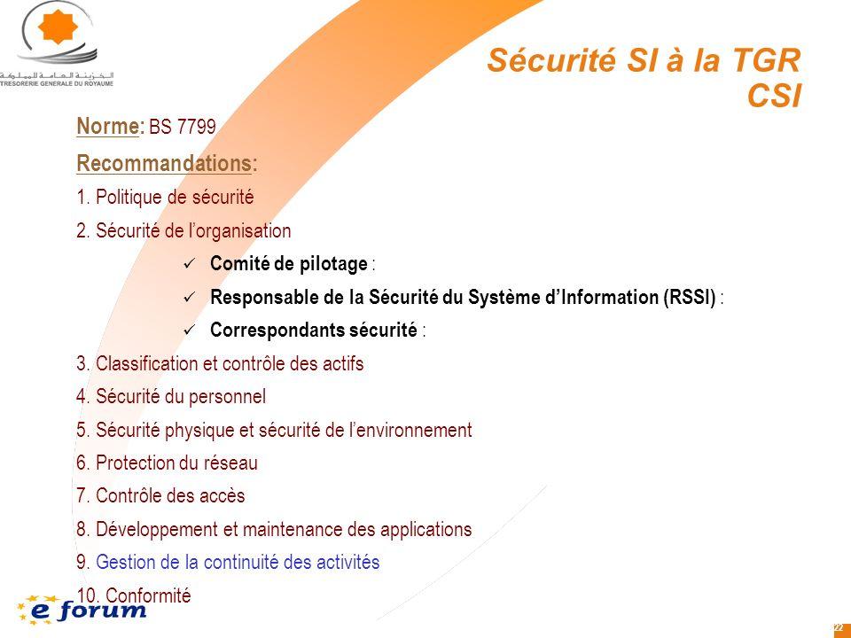 22 Norme: BS 7799 Recommandations: 1.Politique de sécurité 2.