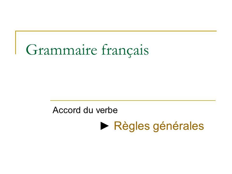 Grammaire français Accord du verbe Règles générales