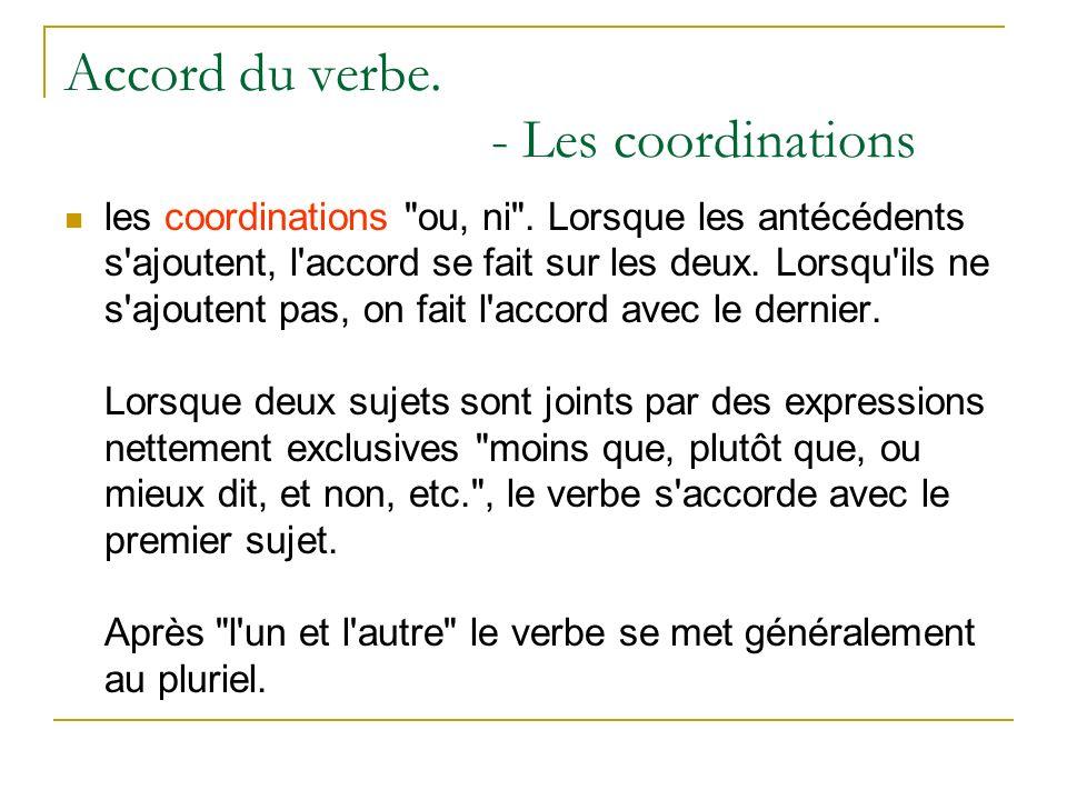 Accord du verbe. - Les coordinations les coordinations