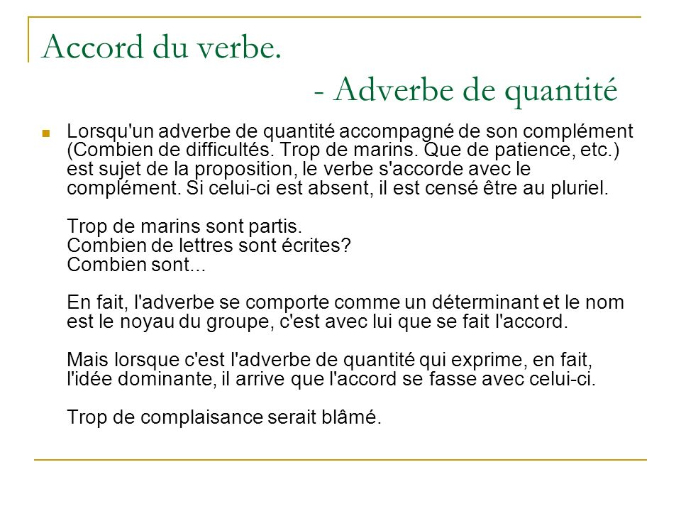 Accord du verbe.