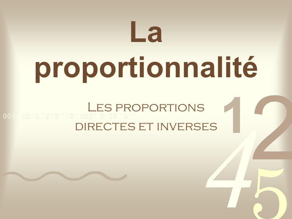 La proportionnalité Les proportions directes et inverses