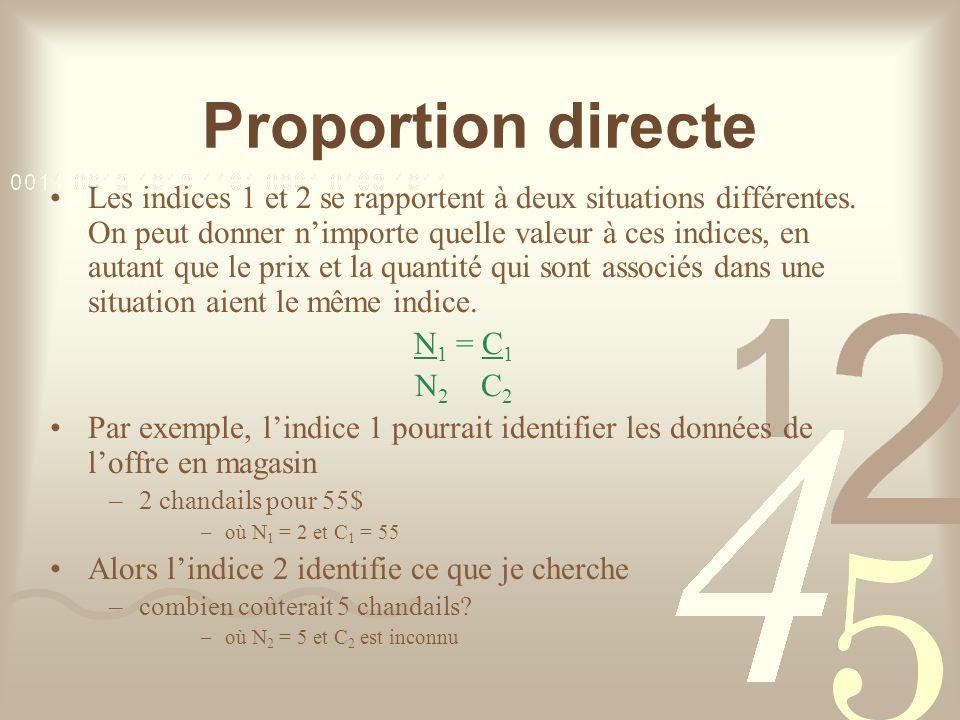 Proportion directe Les indices 1 et 2 se rapportent à deux situations différentes.