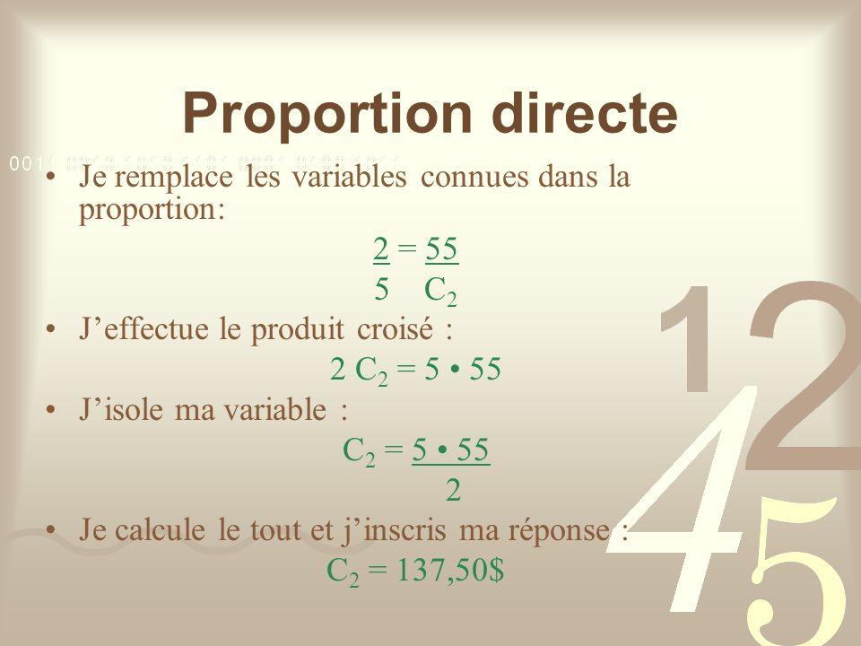 Proportion directe Je remplace les variables connues dans la proportion: 2 = 55 5 C 2 Jeffectue le produit croisé : 2 C 2 = 5 55 Jisole ma variable : C 2 = 5 55 2 Je calcule le tout et jinscris ma réponse : C 2 = 137,50$