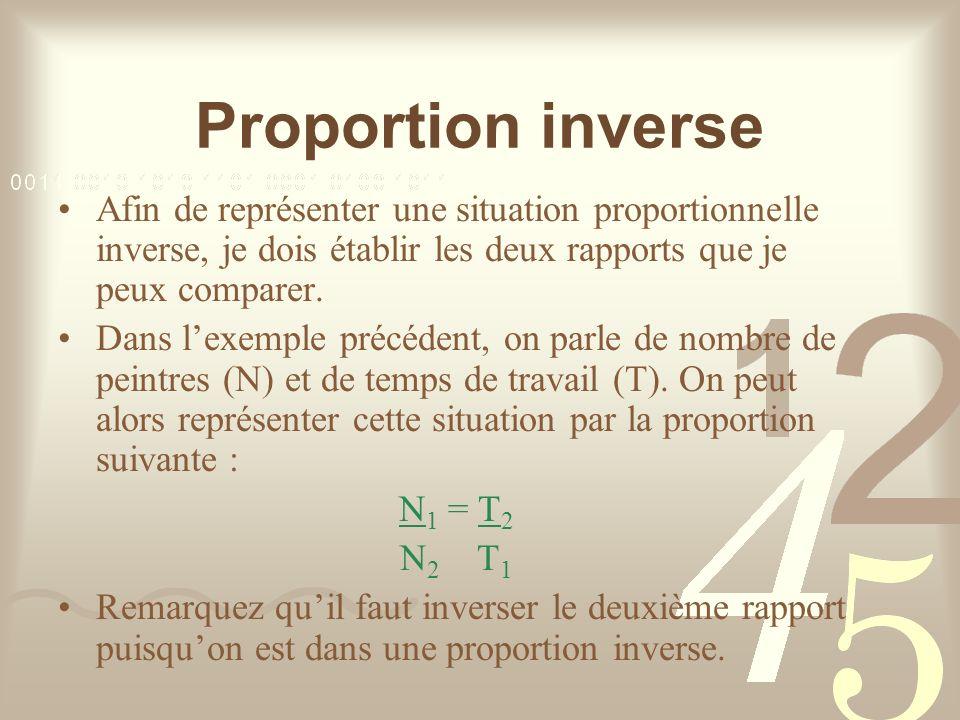Proportion inverse Afin de représenter une situation proportionnelle inverse, je dois établir les deux rapports que je peux comparer.
