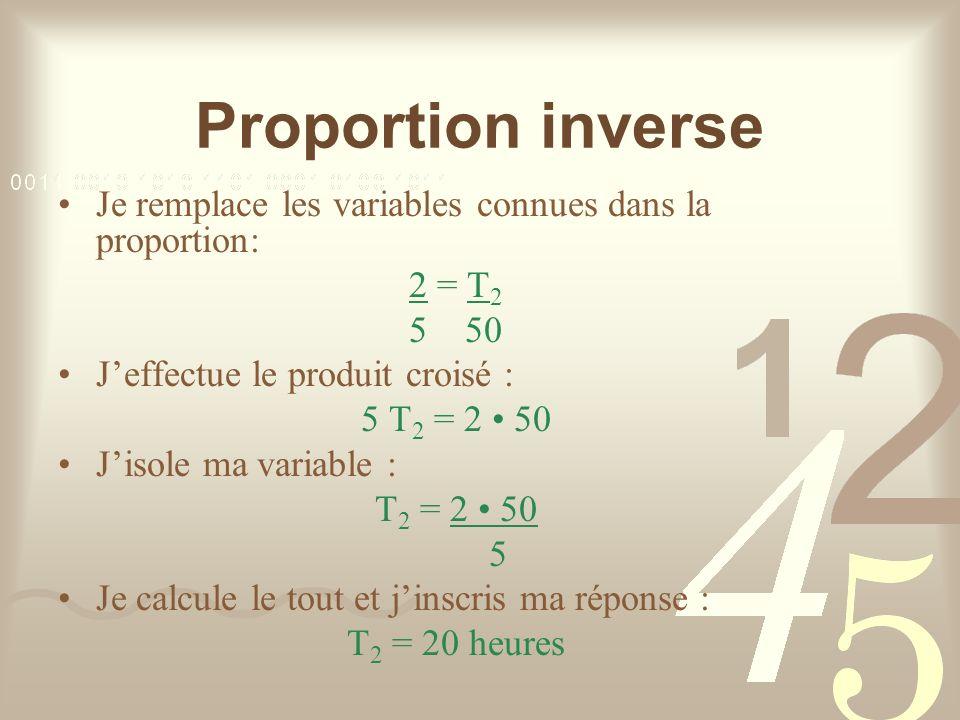 Proportion inverse Je remplace les variables connues dans la proportion: 2 = T 2 5 50 Jeffectue le produit croisé : 5 T 2 = 2 50 Jisole ma variable : T 2 = 2 50 5 Je calcule le tout et jinscris ma réponse : T 2 = 20 heures