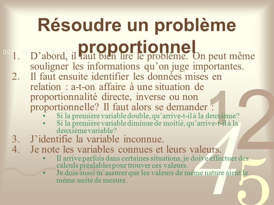 Résoudre un problème proportionnel 1.Dabord, il faut bien lire le problème.