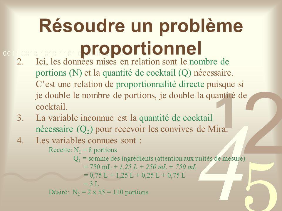 Résoudre un problème proportionnel 2.Ici, les données mises en relation sont le nombre de portions (N) et la quantité de cocktail (Q) nécessaire.