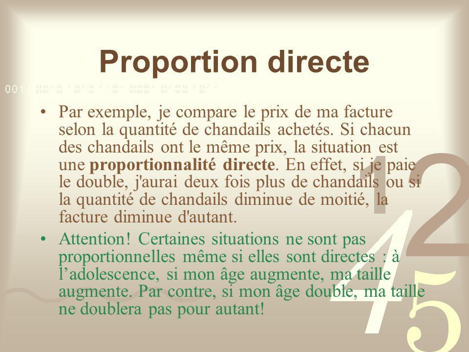 Proportion directe Afin de représenter une situation proportionnelle directe, je dois établir les deux rapports que je peux comparer.