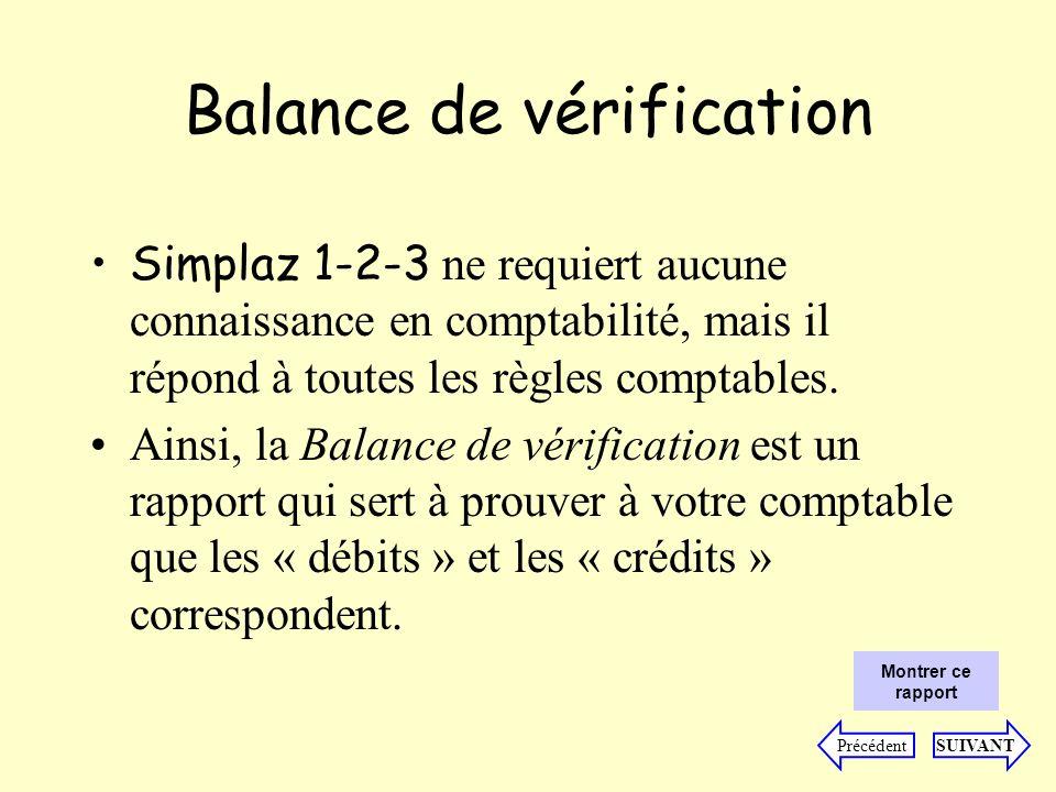 Balance de vérification Simplaz 1-2-3 ne requiert aucune connaissance en comptabilité, mais il répond à toutes les règles comptables.