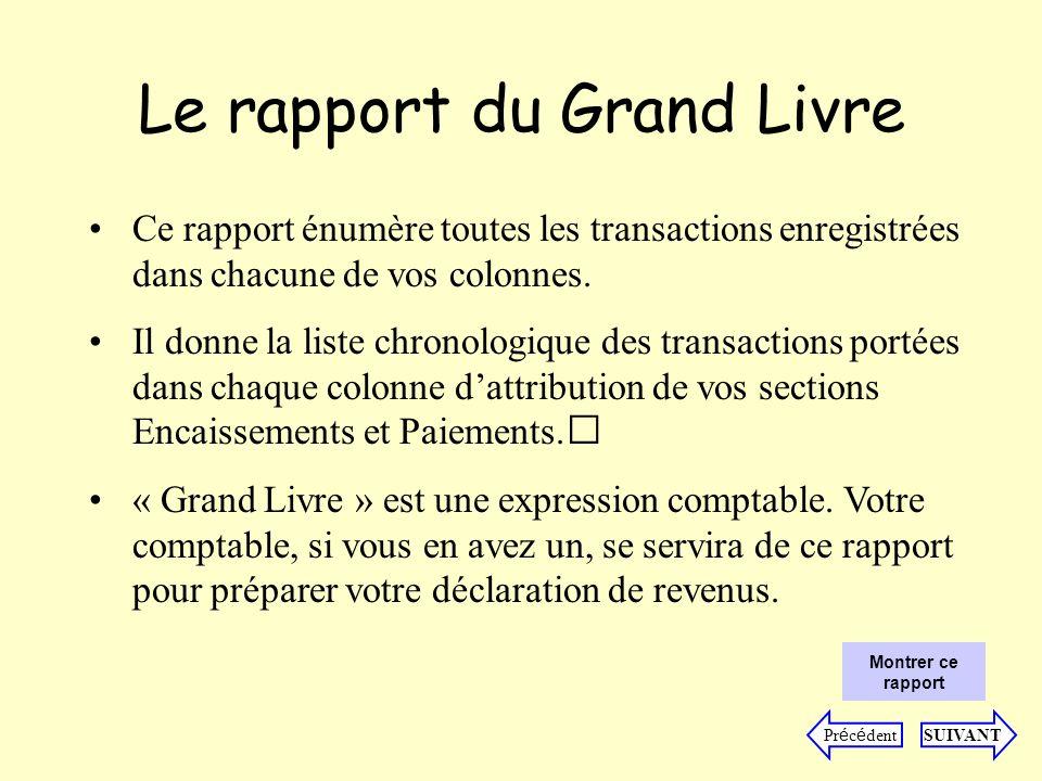 Le rapport du Grand Livre Ce rapport énumère toutes les transactions enregistrées dans chacune de vos colonnes.