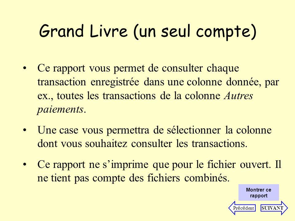 Grand Livre (un seul compte) Ce rapport vous permet de consulter chaque transaction enregistrée dans une colonne donnée, par ex., toutes les transactions de la colonne Autres paiements.