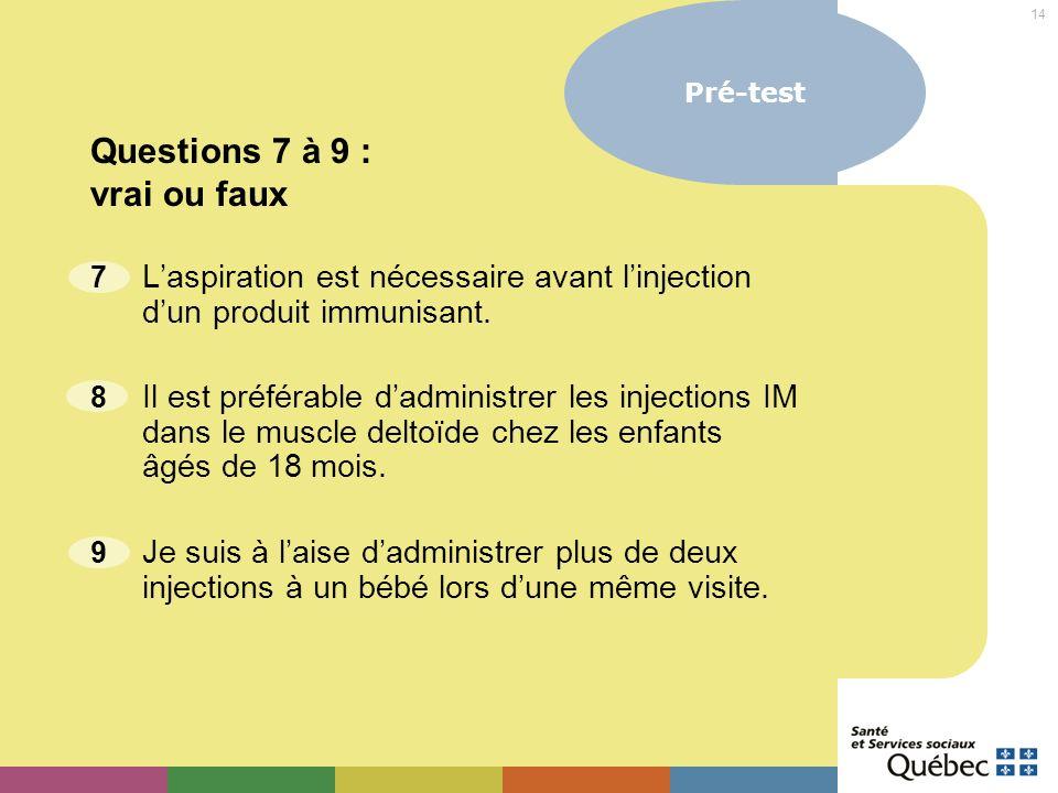 14 7 Laspiration est nécessaire avant linjection dun produit immunisant. 8 Il est préférable dadministrer les injections IM dans le muscle deltoïde ch