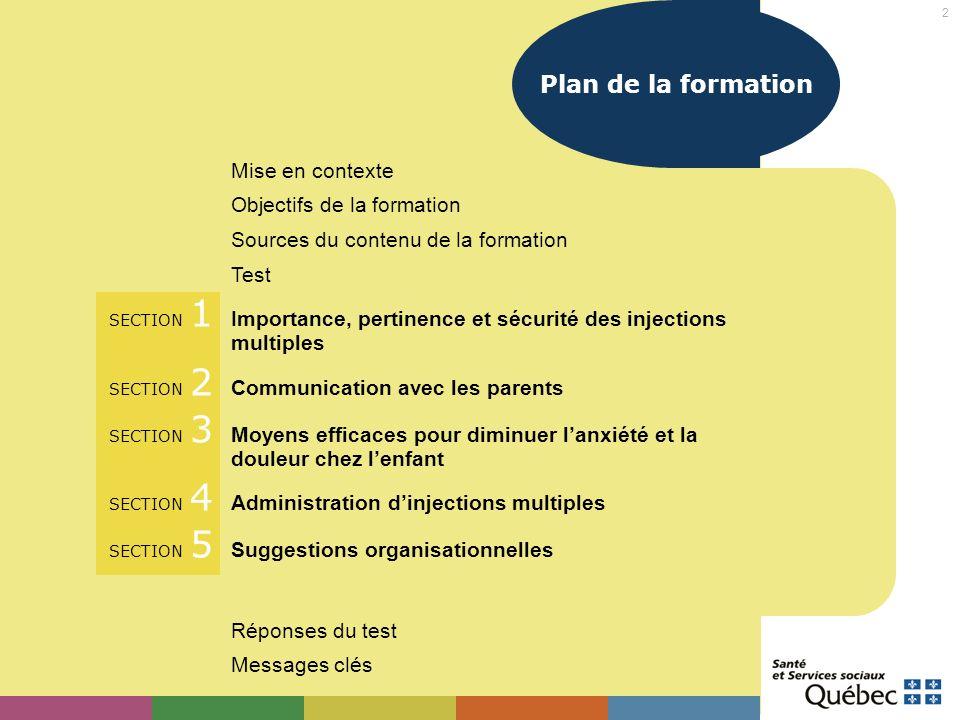 2 Plan de la formation Mise en contexte Objectifs de la formation Sources du contenu de la formation Test SECTION 1 Importance, pertinence et sécurité