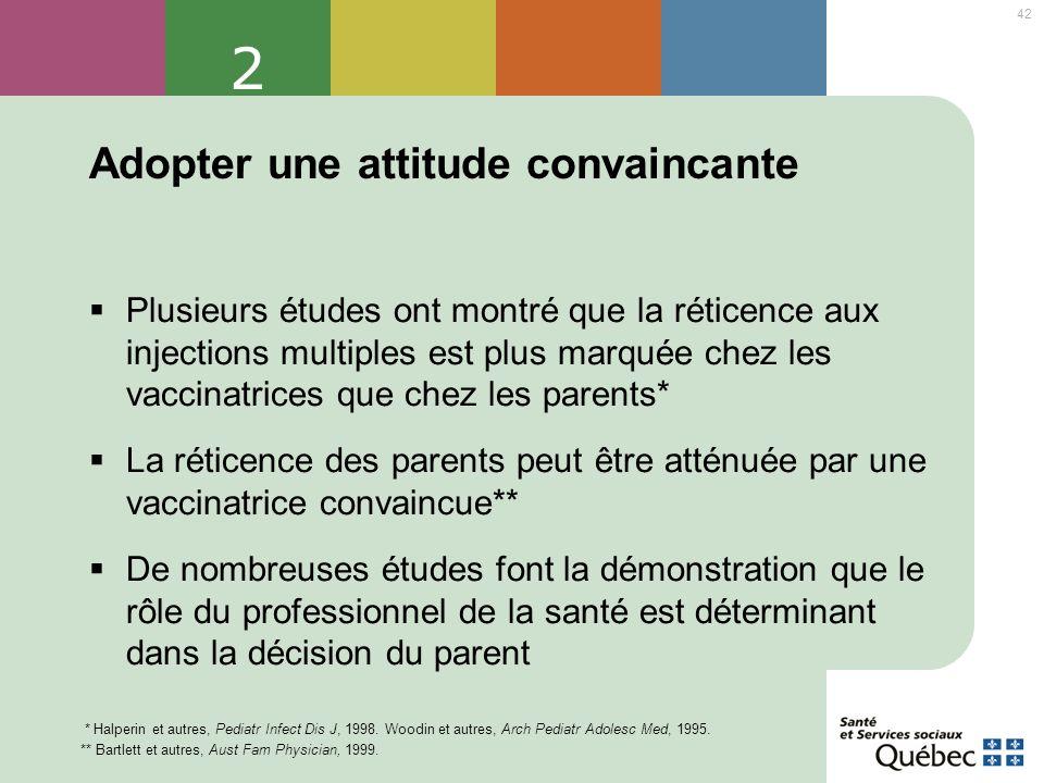 42 2 Adopter une attitude convaincante Plusieurs études ont montré que la réticence aux injections multiples est plus marquée chez les vaccinatrices q