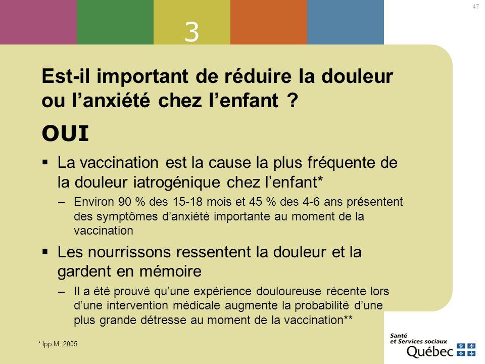 47 3 Est-il important de réduire la douleur ou lanxiété chez lenfant ? La vaccination est la cause la plus fréquente de la douleur iatrogénique chez l