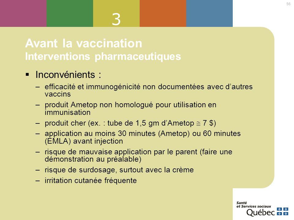 56 3 Avant la vaccination Interventions pharmaceutiques Inconvénients : –efficacité et immunogénicité non documentées avec dautres vaccins –produit Am