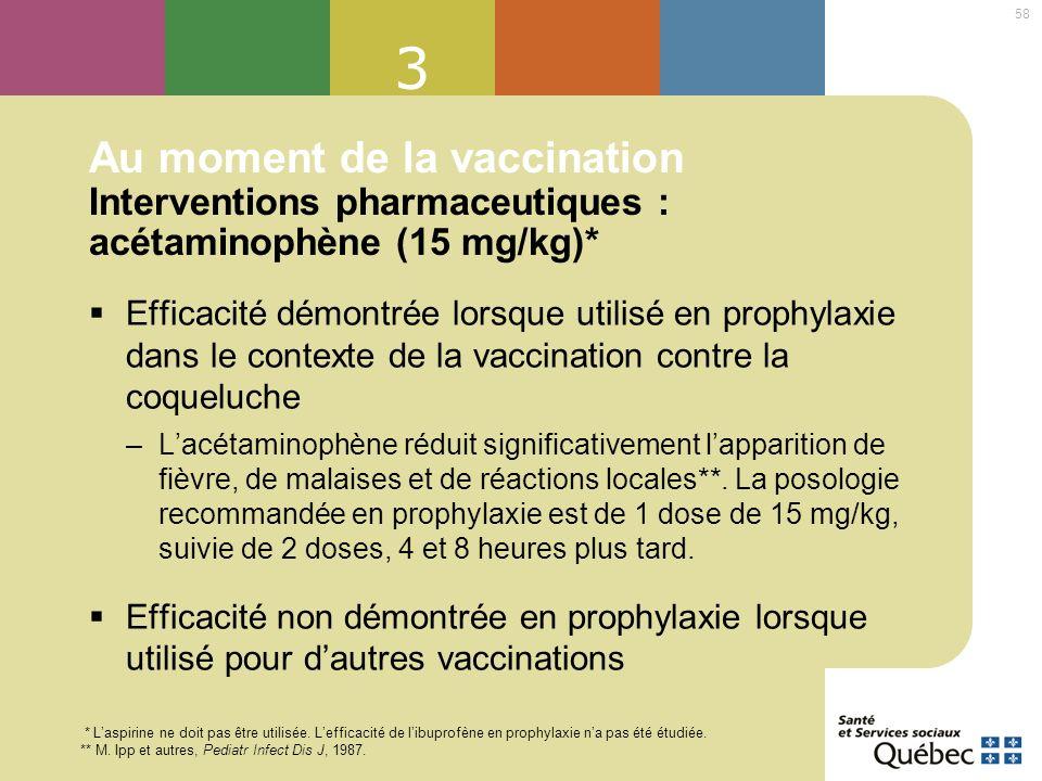 58 3 Au moment de la vaccination Interventions pharmaceutiques : acétaminophène (15 mg/kg)* Efficacité démontrée lorsque utilisé en prophylaxie dans l