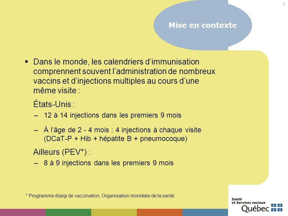 7 Objectif général Permettre aux vaccinatrices travaillant auprès denfants dâge préscolaire dappliquer les principes de pratique optimale lors des consultations nécessitant des injections multiples de vaccins.