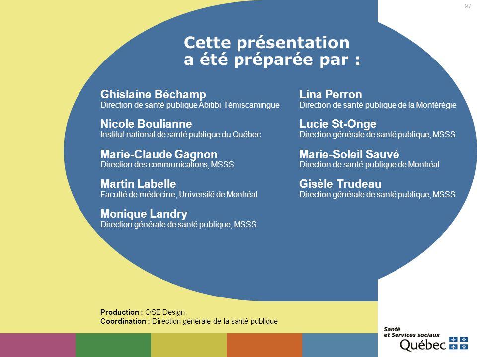 97 Cette présentation a été préparée par : Ghislaine Béchamp Direction de santé publique Abitibi-Témiscamingue Nicole Boulianne Institut national de s