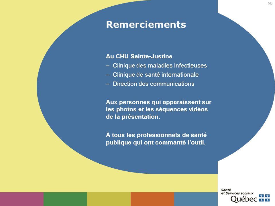 98 Remerciements Au CHU Sainte-Justine – Clinique des maladies infectieuses – Clinique de santé internationale – Direction des communications Aux pers