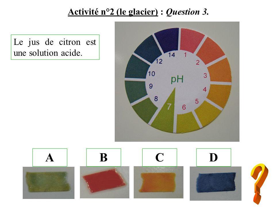 Activité n°2 (le glacier) : Question 3. ABCD Le jus de citron est une solution acide.