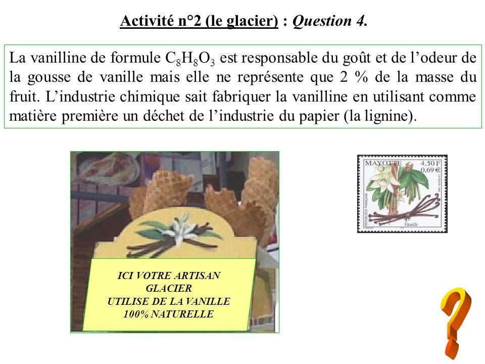La vanilline de formule C 8 H 8 O 3 est responsable du goût et de lodeur de la gousse de vanille mais elle ne représente que 2 % de la masse du fruit.
