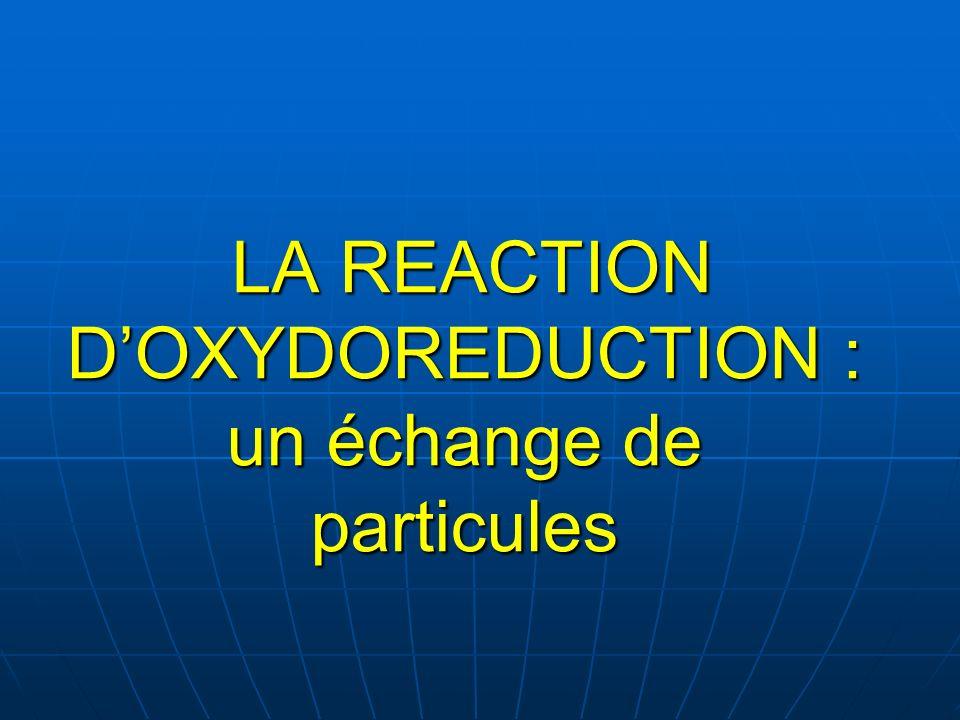 LA REACTION DOXYDOREDUCTION : un échange de particules LA REACTION DOXYDOREDUCTION : un échange de particules
