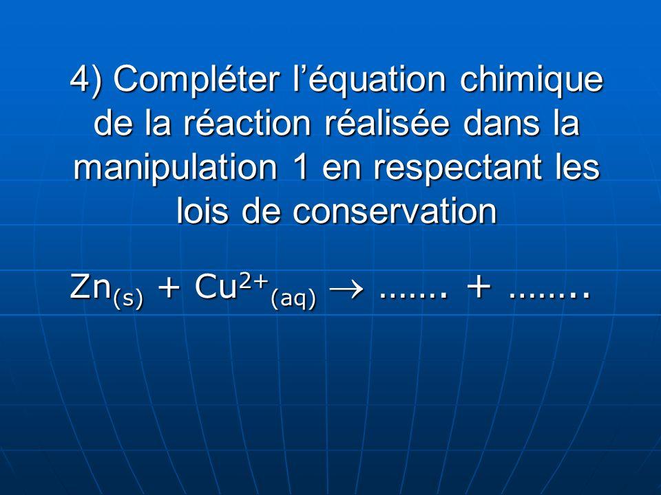 4) Compléter léquation chimique de la réaction réalisée dans la manipulation 1 en respectant les lois de conservation Zn (s) + Cu 2+ (aq) ……. + ……..