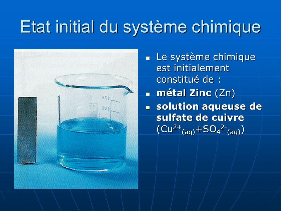 Etat initial du système chimique Le système chimique est initialement constitué de : Le système chimique est initialement constitué de : métal Zinc (Z