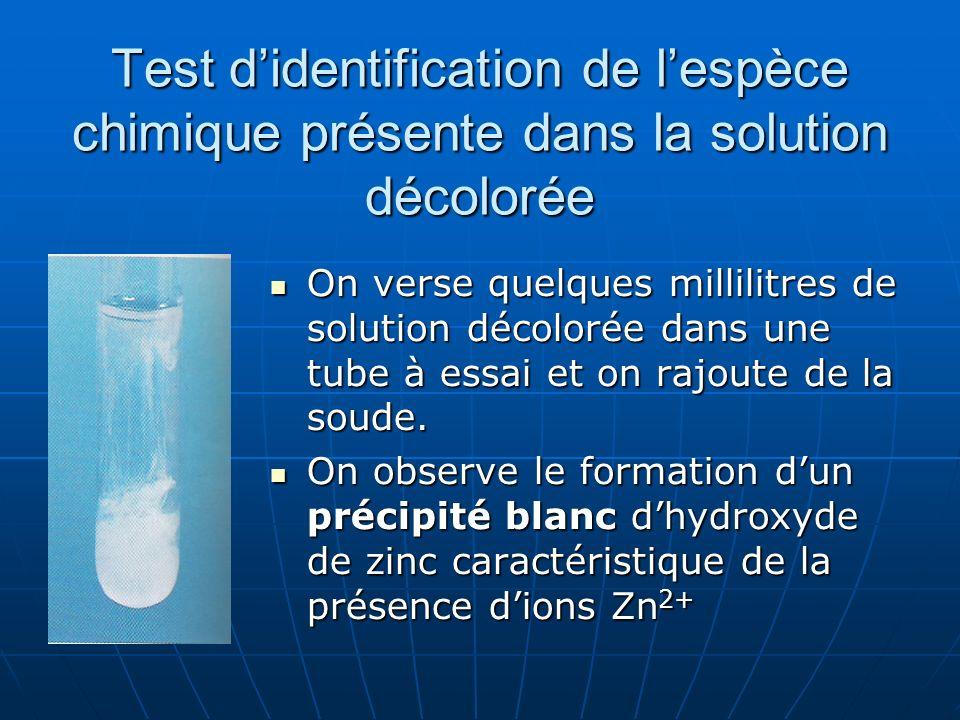 Test didentification de lespèce chimique présente dans la solution décolorée On verse quelques millilitres de solution décolorée dans une tube à essai