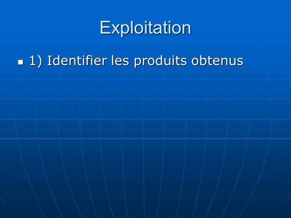Exploitation 1) Identifier les produits obtenus 1) Identifier les produits obtenus