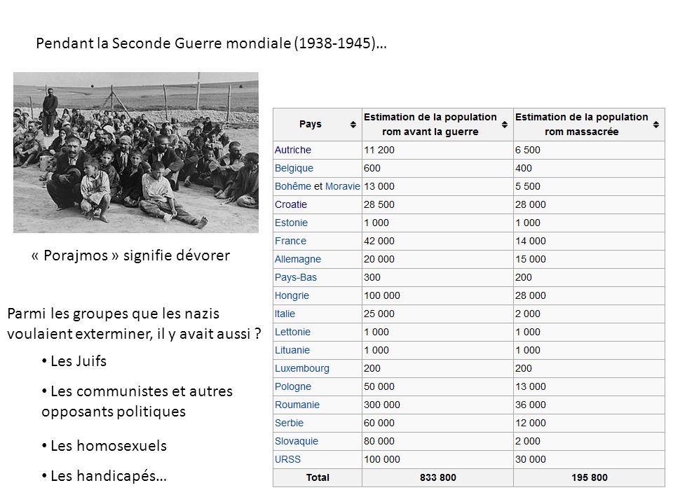 Pendant la Seconde Guerre mondiale (1938-1945)… « Porajmos » signifie dévorer Parmi les groupes que les nazis voulaient exterminer, il y avait aussi ?