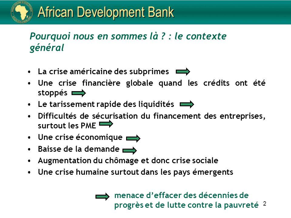 2 Pourquoi nous en sommes là ? : le contexte général La crise américaine des subprimes Une crise financière globale quand les crédits ont été stoppés